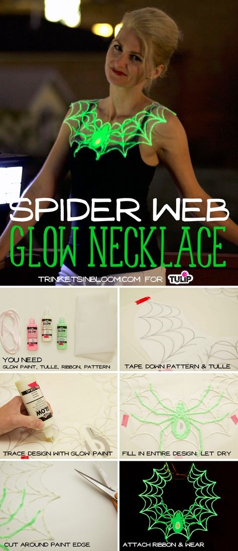 DIY Glow in the Dark Spiderweb Necklace