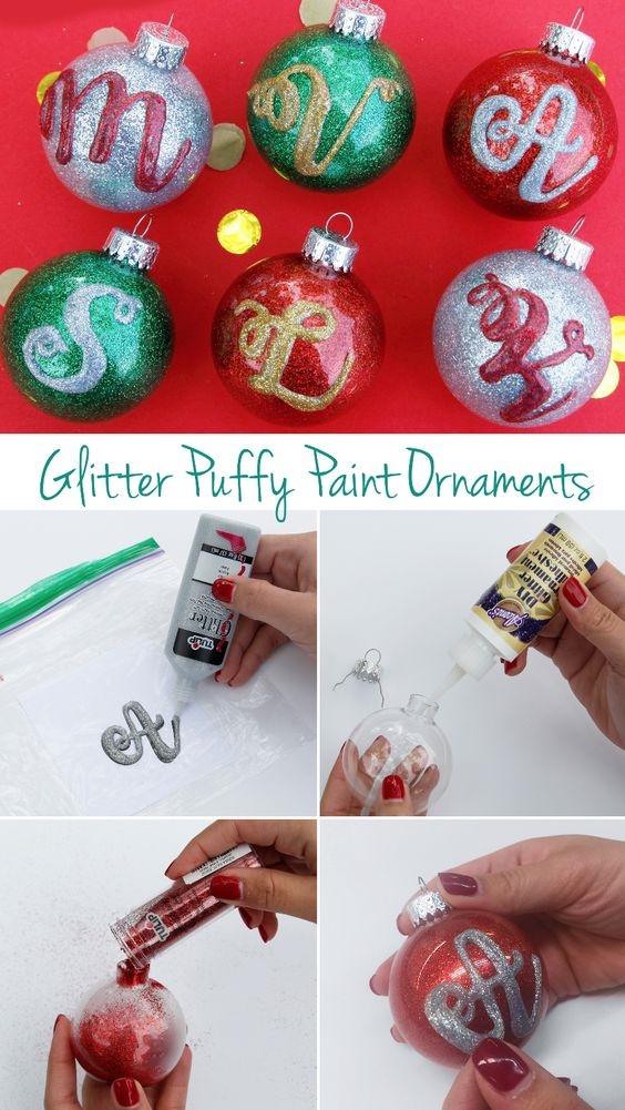 Glitter Monogram Ornaments