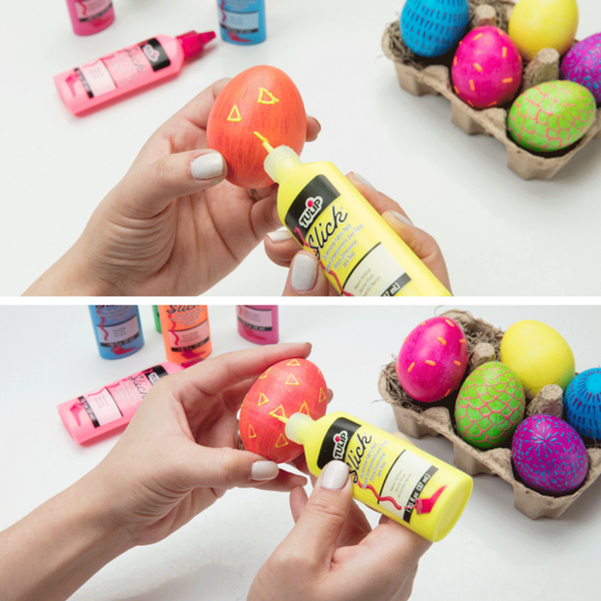 Modern Puffy Paint Easter Eggs