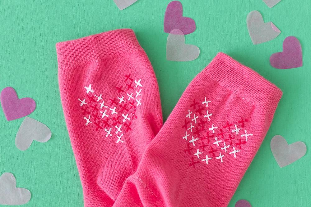 Picture of DIY Faux Cross Stitch Heart Socks
