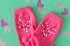 Picture of DIY Faux Cross Stitch Heart Socks