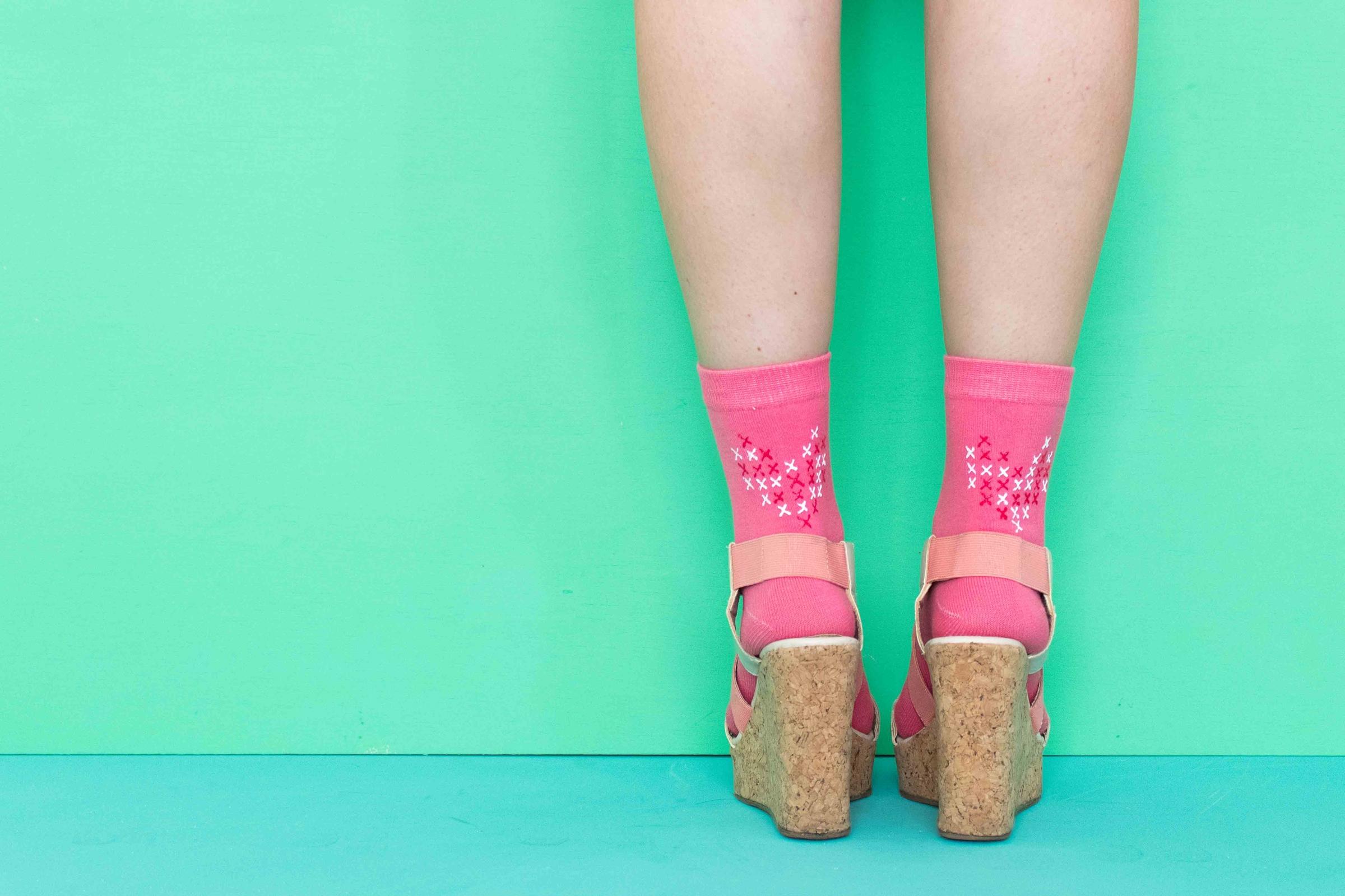 DIY Faux Cross Stitch Heart Socks