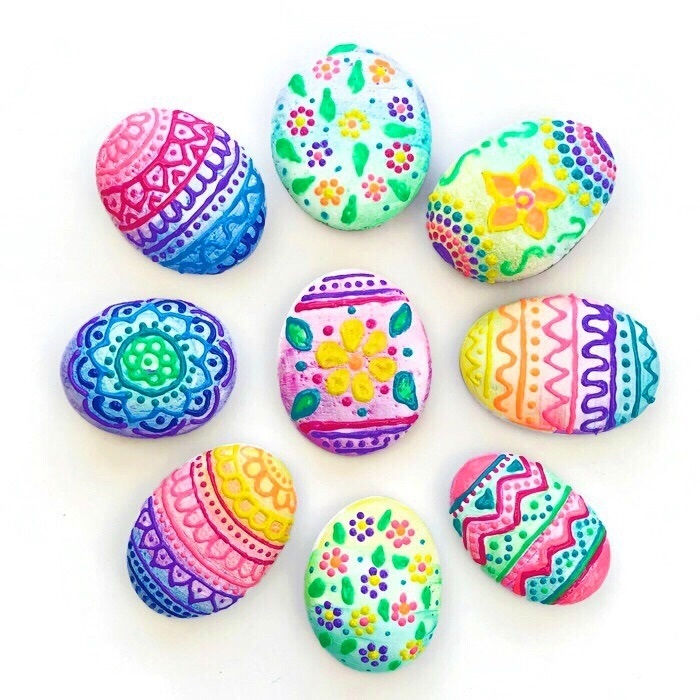 Picture of Puffy Paint Easter Egg Rocks