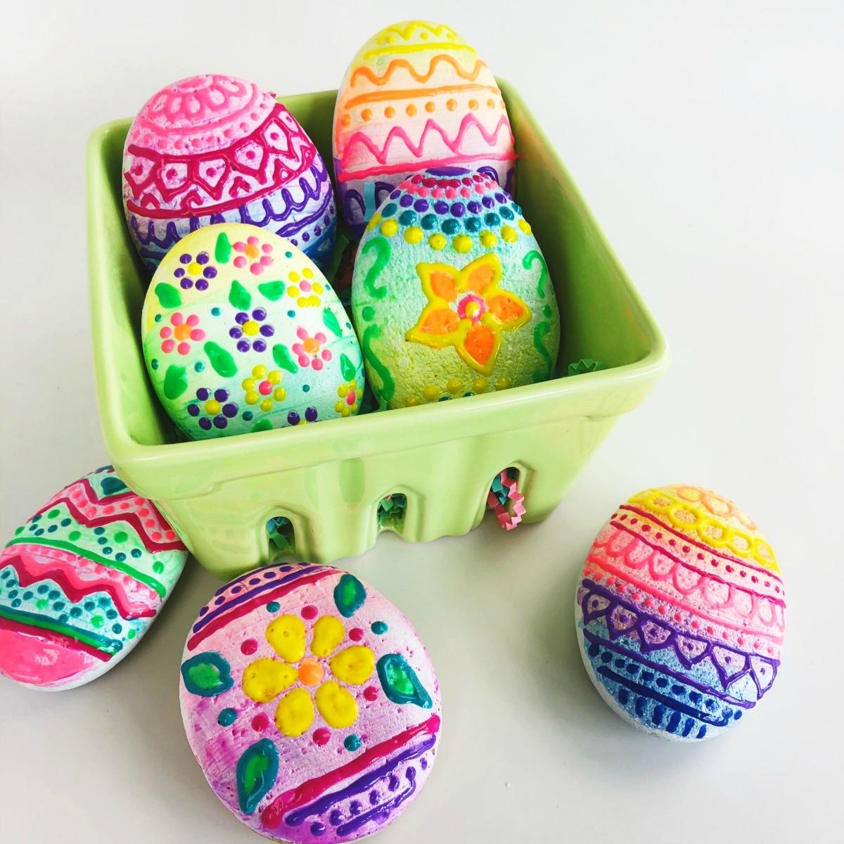 Puffy Paint Easter Egg Rocks