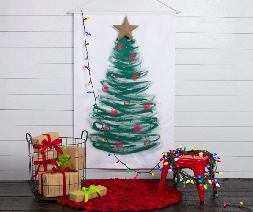 Picture of Fabric Paint Christmas Tree Wall Canvas
