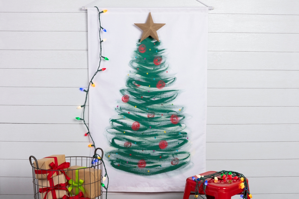 Fabric Paint Christmas Tree Wall Canvas