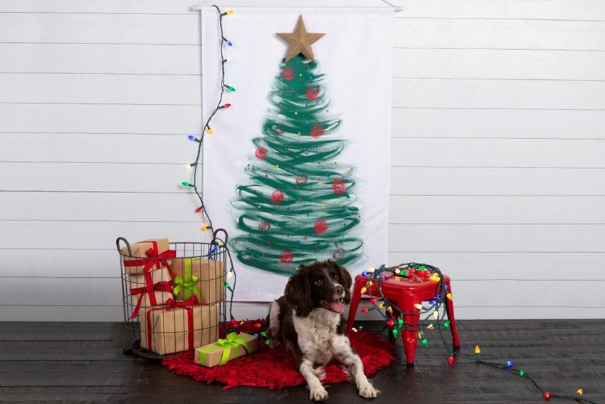 Fabric Paint Christmas Tree Wall Canvas