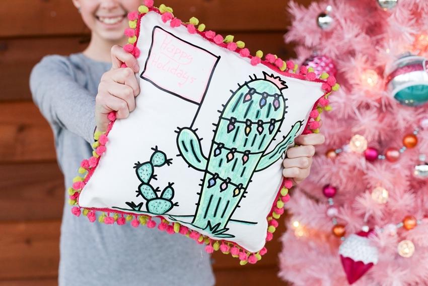 Christmas Cactus Coloring Pillow