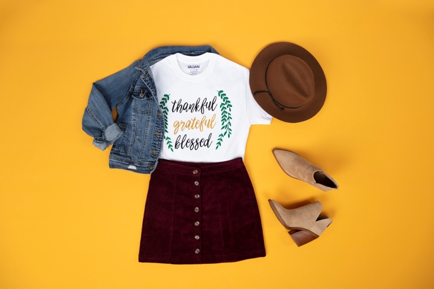 Picture of Easy Fabric Paint Thankful Shirt
