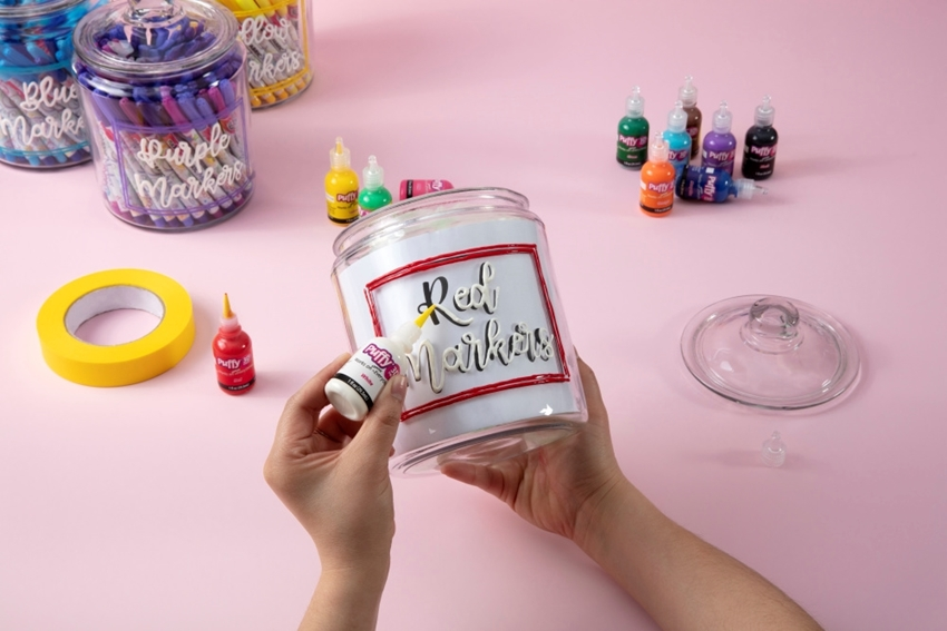 Craft Room Makeover Puffy Paint Canister Labels