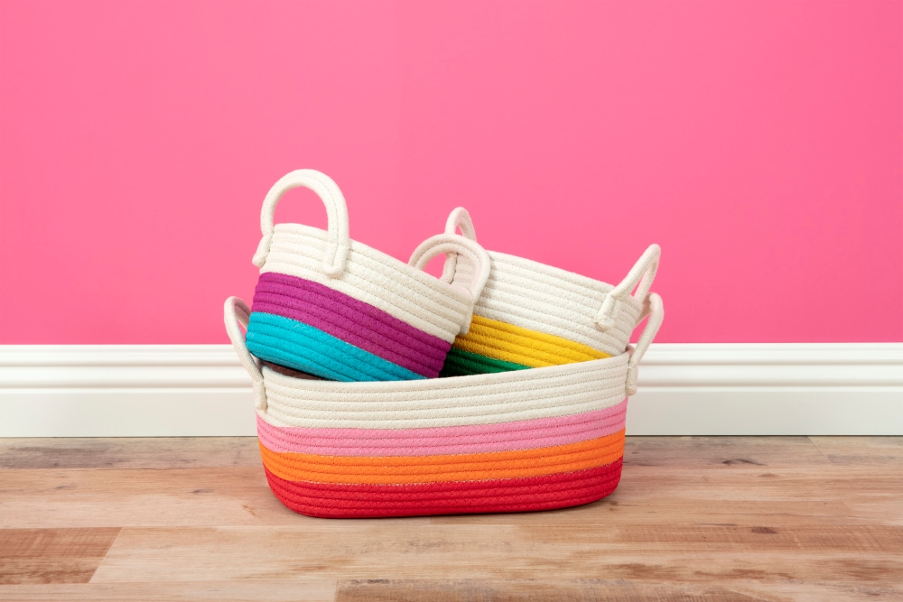 DIY Painted Rope Baskets
