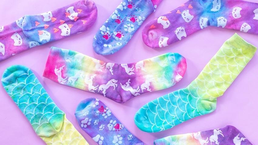 Picture of Tulip 90s Inspired Neon Tie-Dye Grip Socks