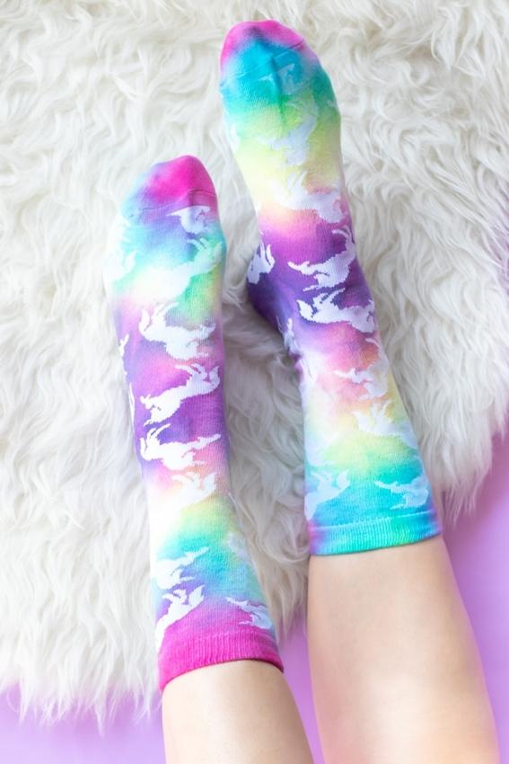 Tulip 90s Inspired Neon Tie-Dye Grip Socks