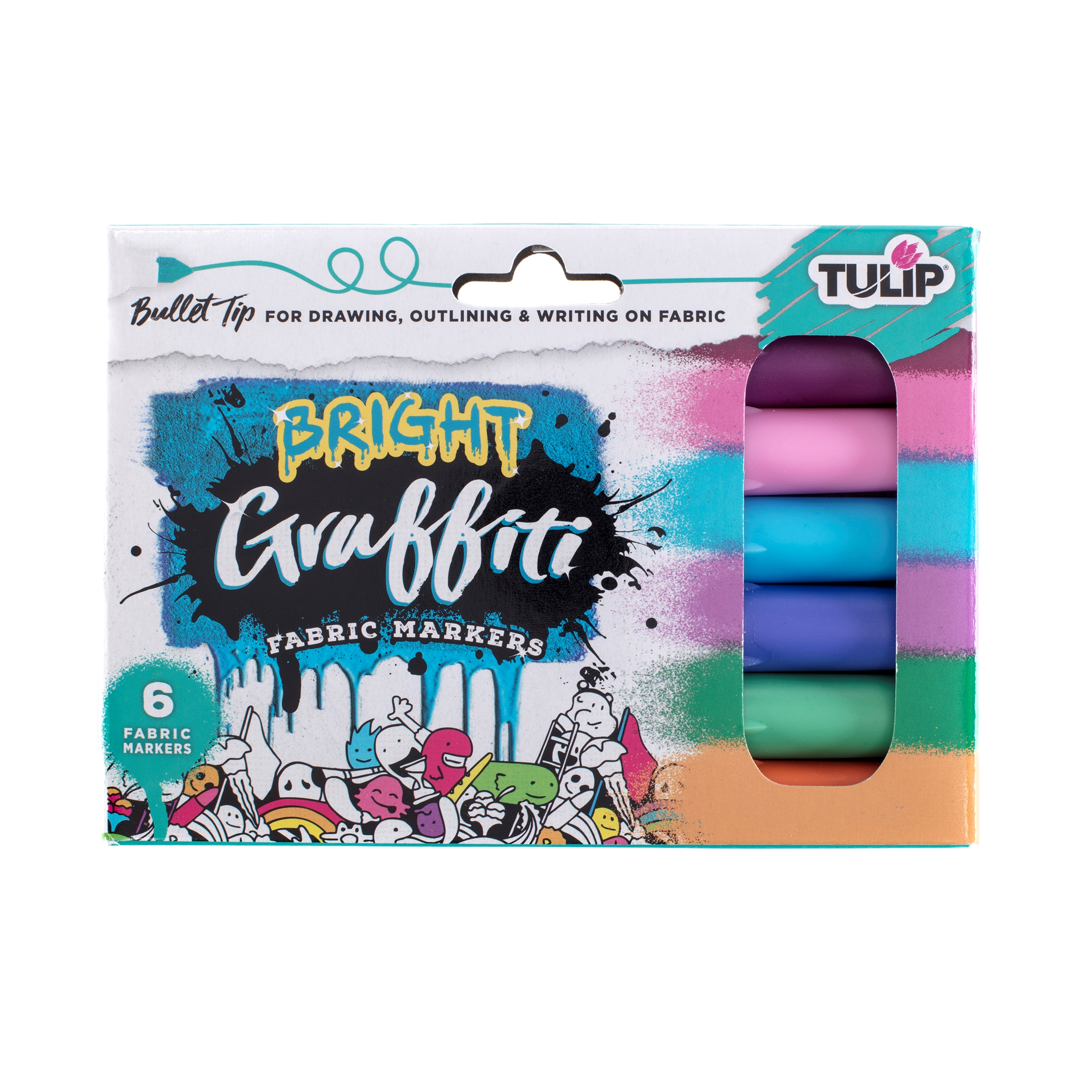Picture of Graffiti Bullet Tip Bright Fabric Markers 6 Pack