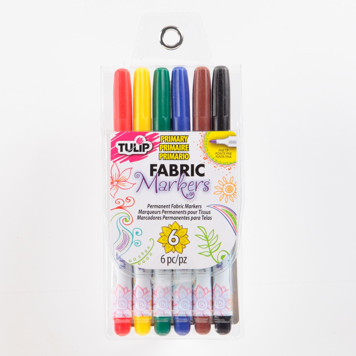 Picture of Fine Tip Primary Fabric Markers 6 Pack