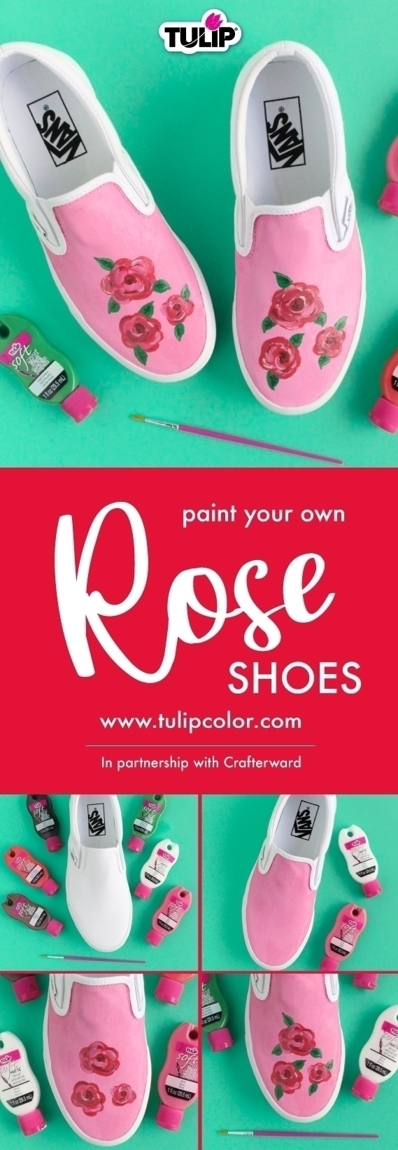 Tulip Painted Rose Shoes