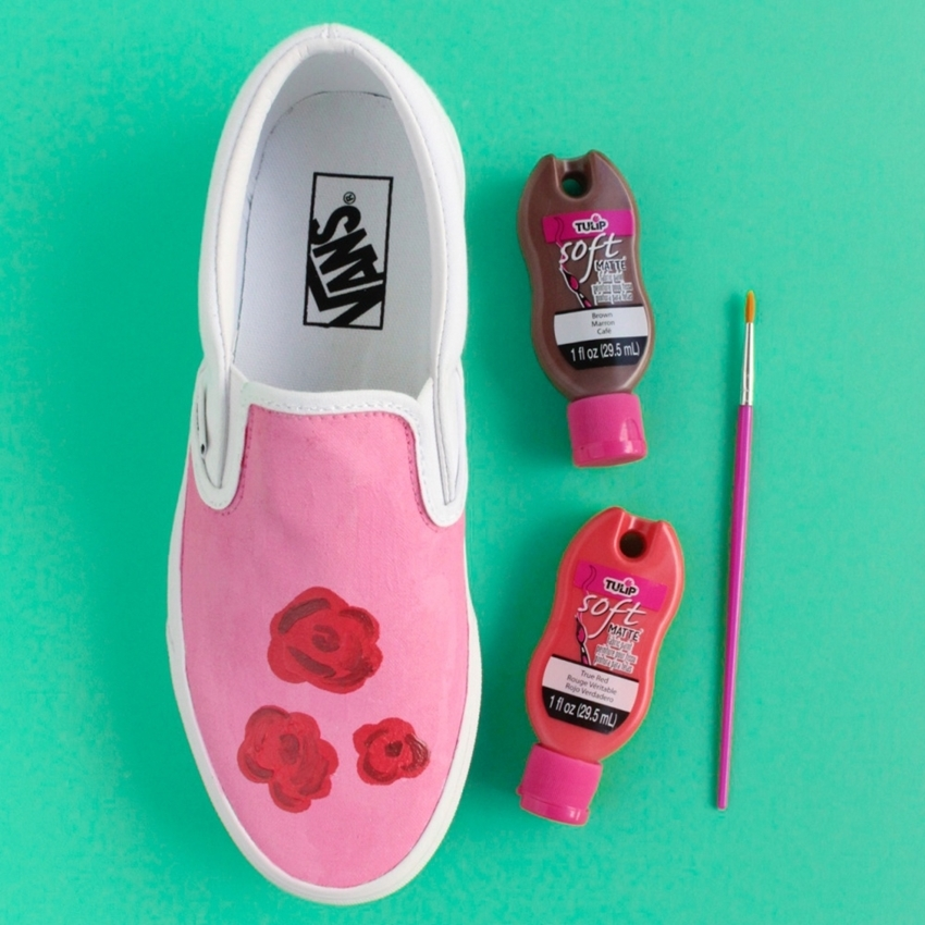Tulip Painted Rose Shoes - paint flower shapes