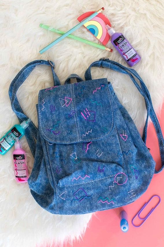 Tulip 80s-Inspired Denim Backpack