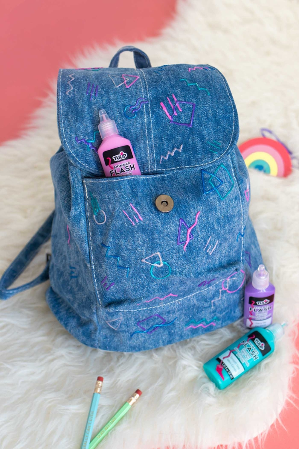 Tulip 80s-Inspired Denim Backpack