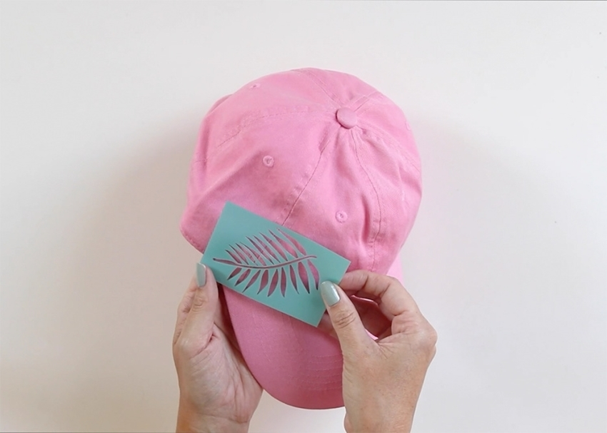 Tulip Palm Leaf Baseball Cap - place stencil on cap
