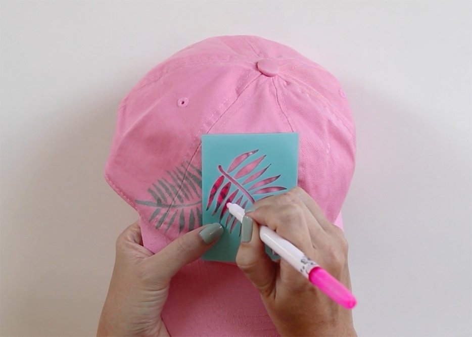 Tulip Palm Leaf Baseball Cap - color in stencil with marker