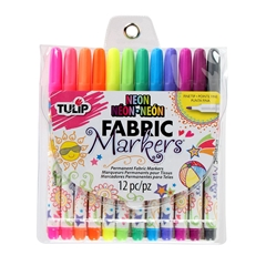 Picture of Fine Tip Neon Fabric Markers 12 Pack