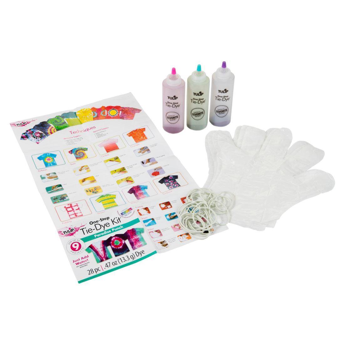 Paradise Punch 3-Color Tie-Dye Kit Content