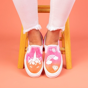 Picture of Unicorn Ombre Tie-Dye Shoes with Transfers