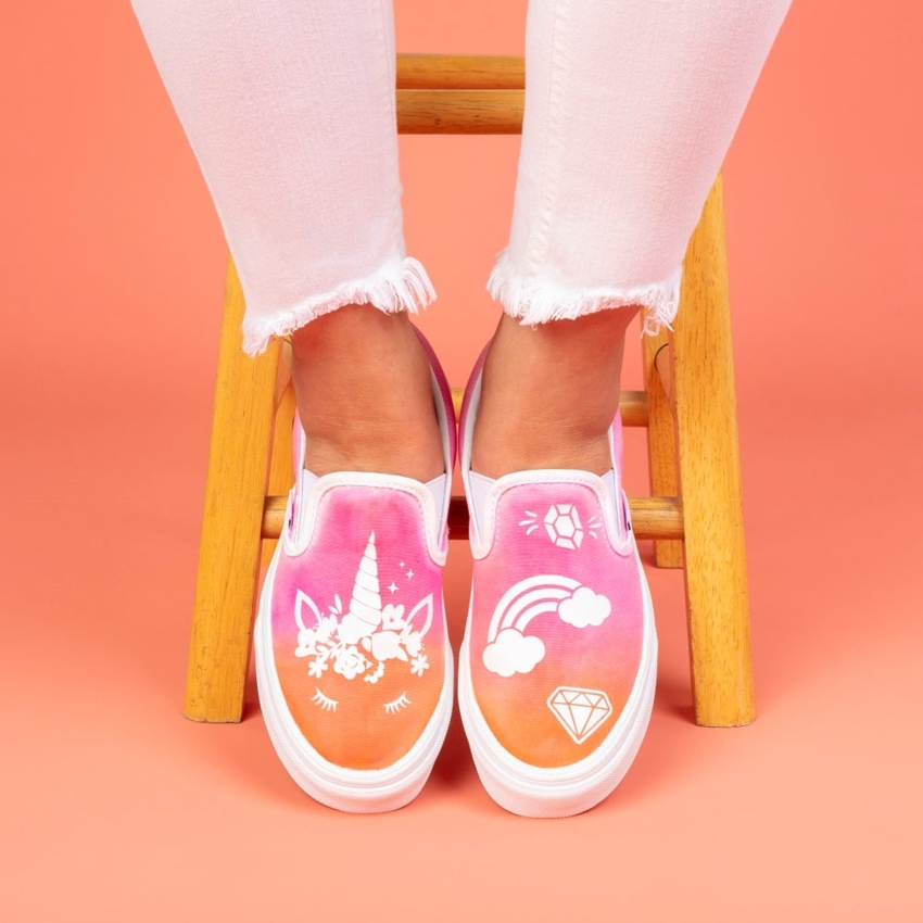 Picture of Tulip Unicorn Ombre Tie-Dye Shoes with Transfers