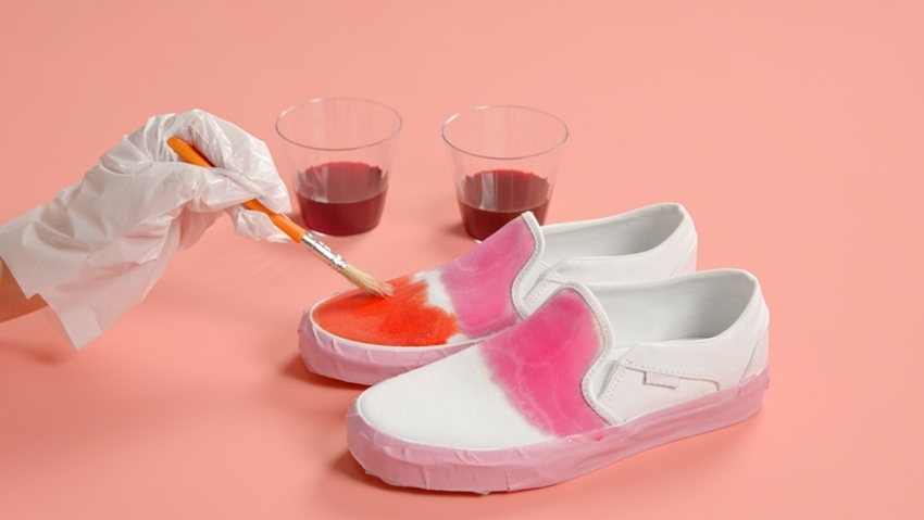 Tulip Unicorn Ombre Tie-Dye Shoes with Transfers - brush on dyes
