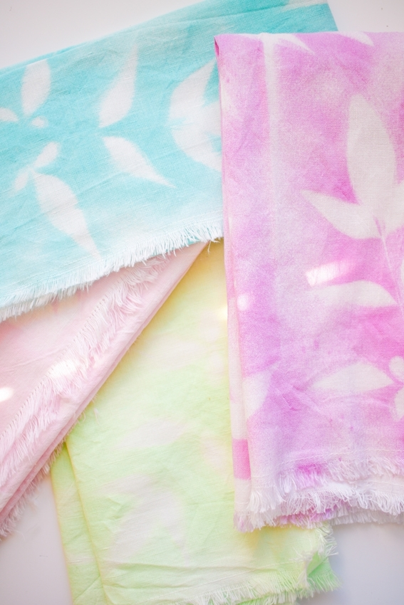 Tulip Pastel Dyed Plant Pattern Cloth Napkins