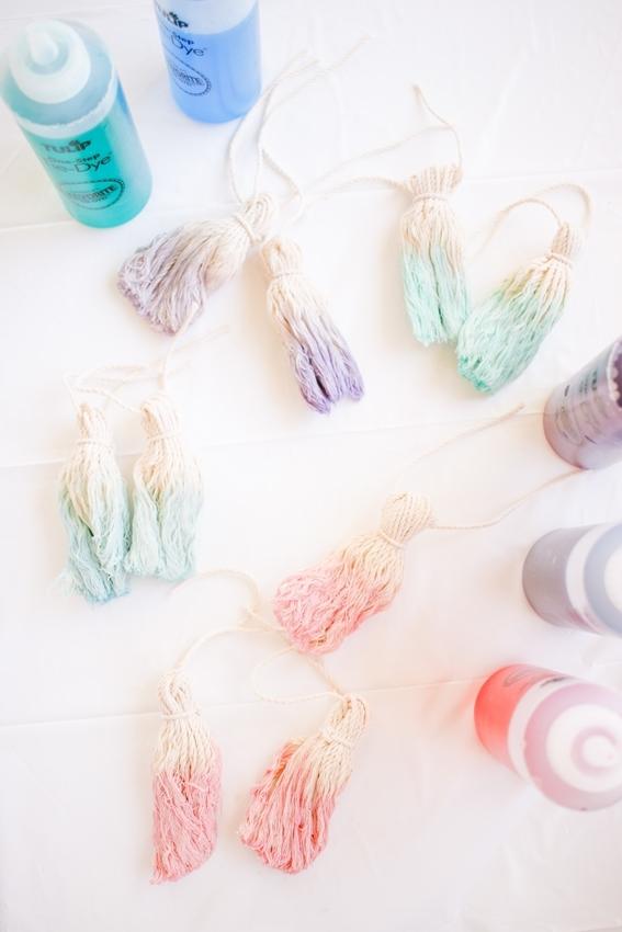 Tulip Pastel Dyed DIY Wall Hanging - dye tassels