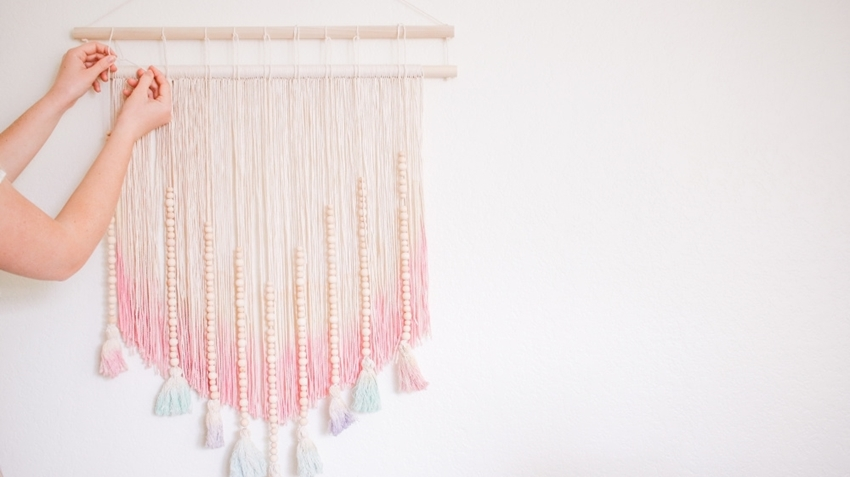 Tulip Pastel Dyed DIY Wall Hanging - hang tassels