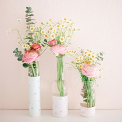 Picture of Pastel Dimensional Paint Floral Vases