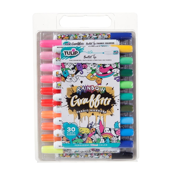 Picture of Graffiti Bullet Tip Rainbow Fabric Markers 30 Pack