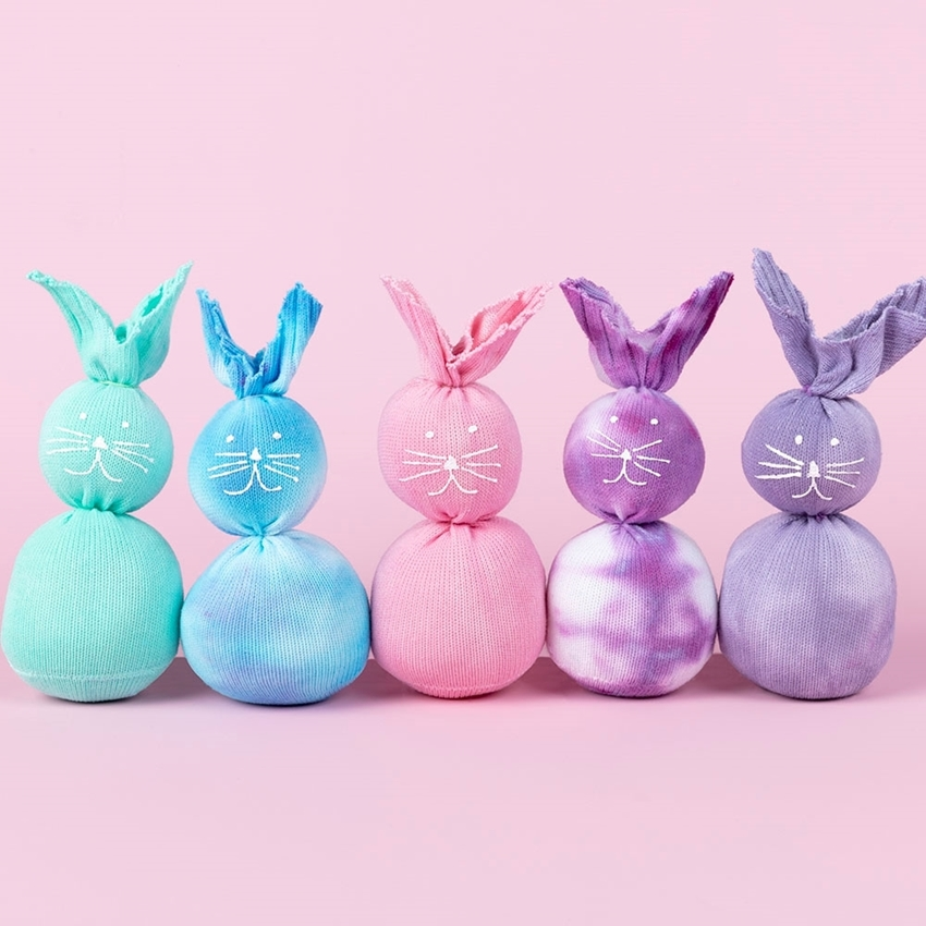 Picture of Tulip Pastel Tie-Dye Sock Bunnies