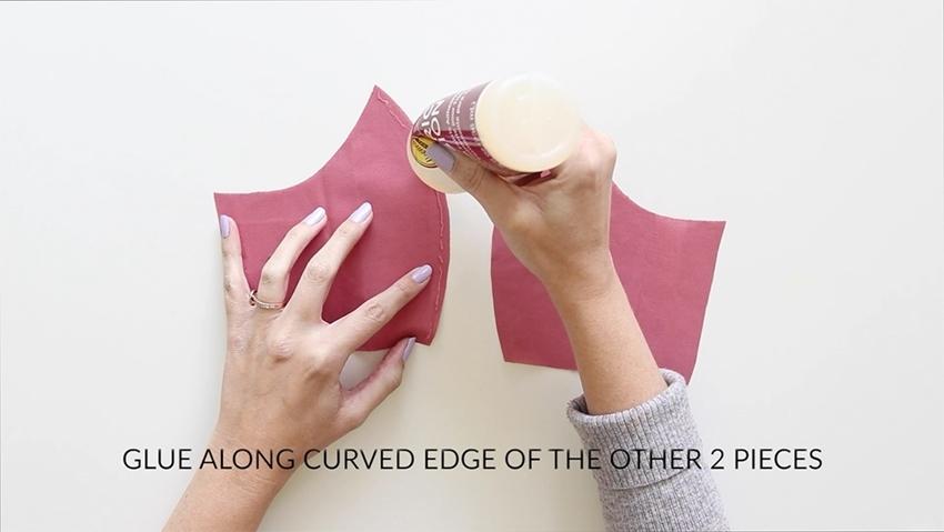 Tulip Make a No-Sew Face Mask - glue seams of mask pieces
