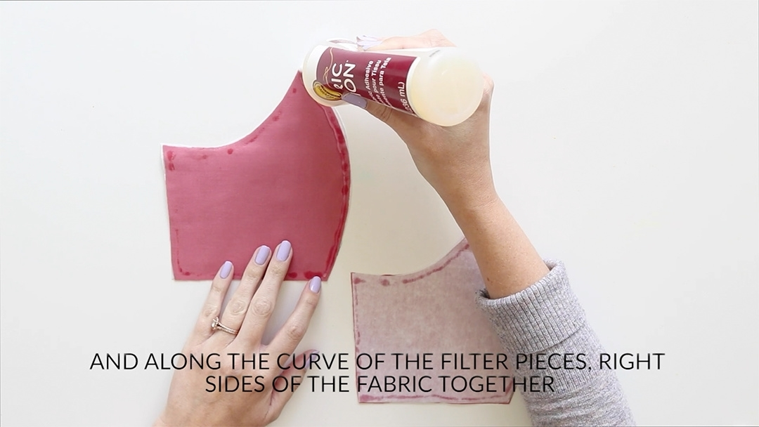 Tulip Make a No-Sew Face Mask - glue seams of filter pieces