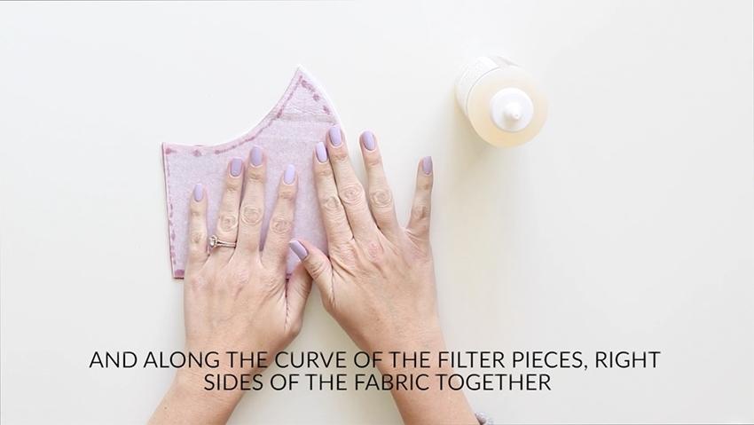 Tulip Make a No-Sew Face Mask - glue seams of filter pieces