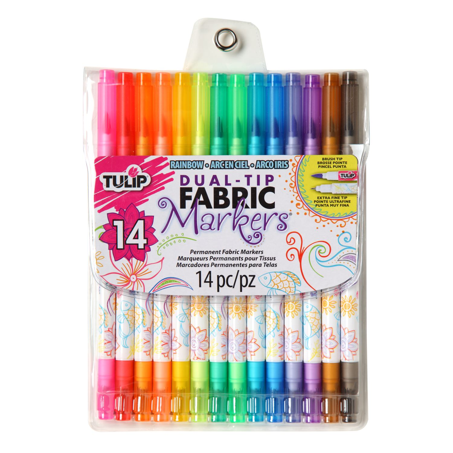 Picture of Dual-Tip Fabric Markers Rainbow 14 Pack