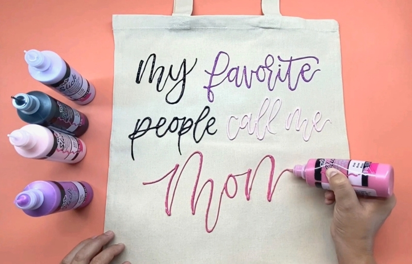 Tulip Dimensional Paint Quote Art Mother's Day Tote - let dry