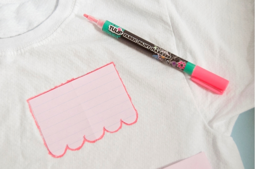 Tulip Fabric Markers DIY Papel Picado T-shirt - trace paper shapes on shirt