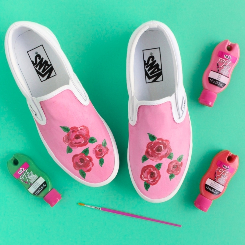 Rose Painting Shoes with Soft Fabric Paint