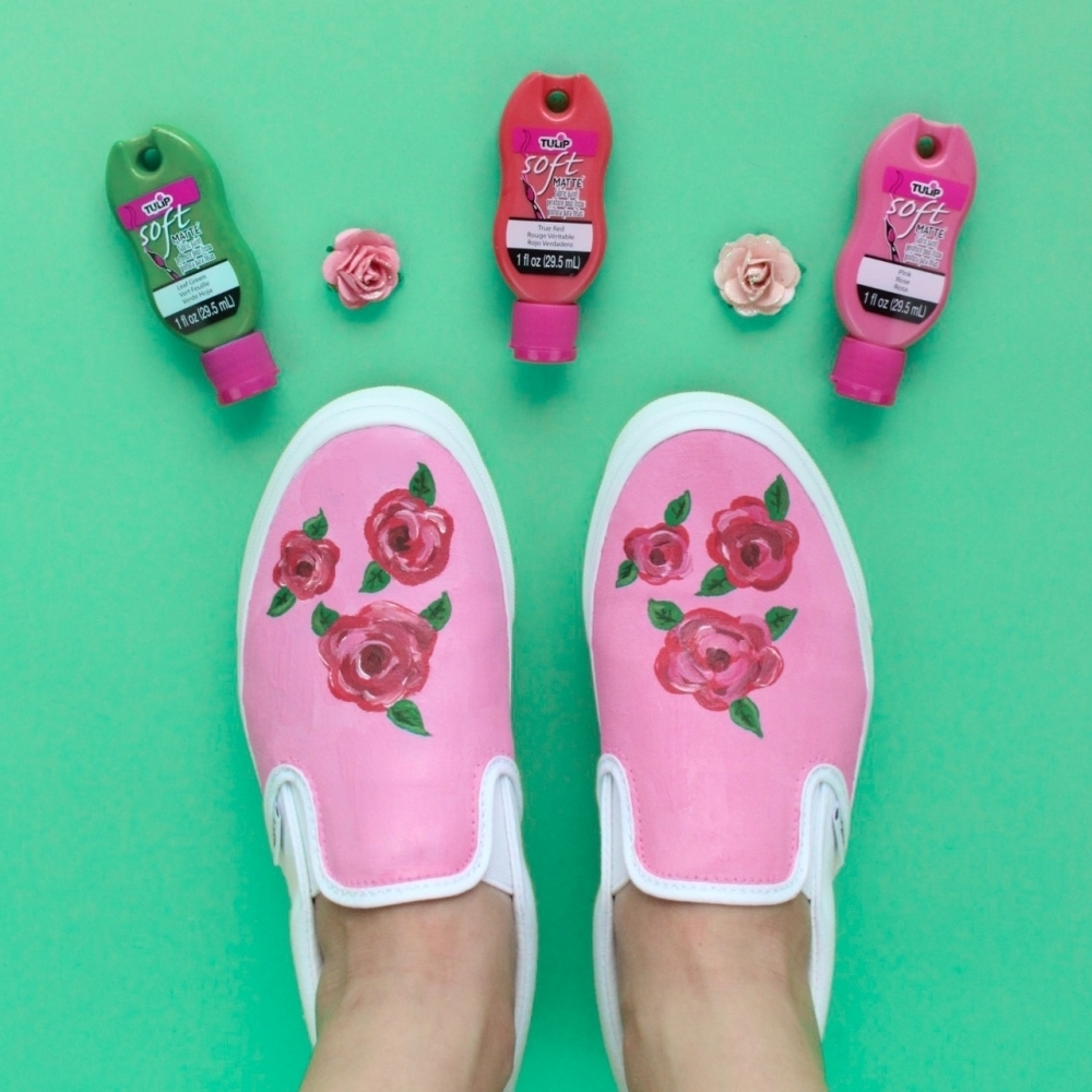 Rose-Painted Shoes