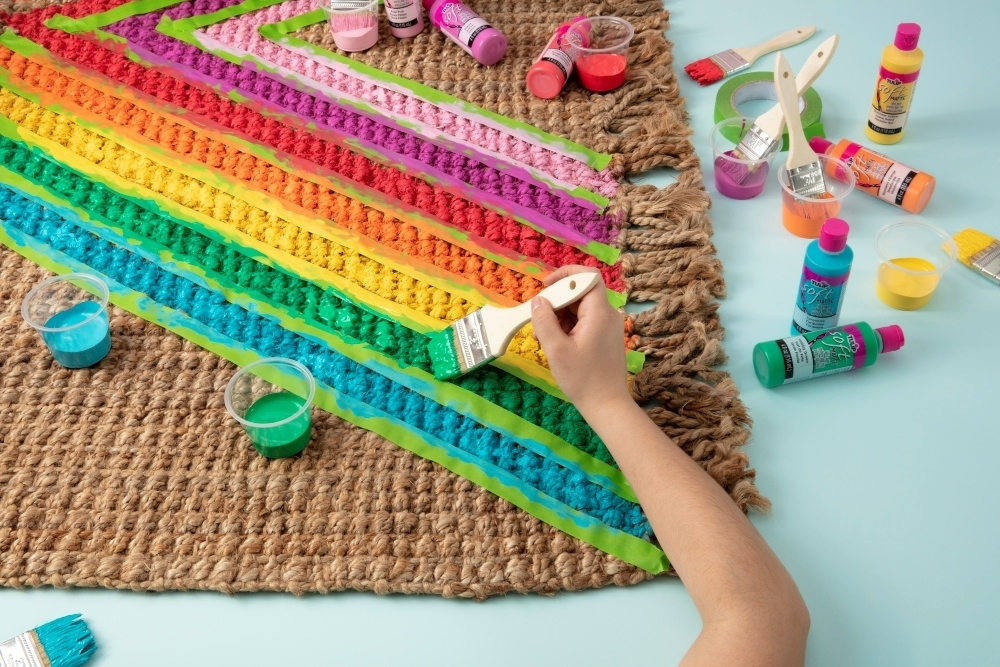 Paint in stripes with brush-on fabric paint