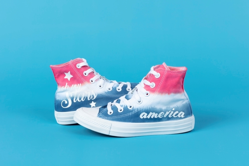 Picture of Americana Tie-Dye Shoes with Transfers