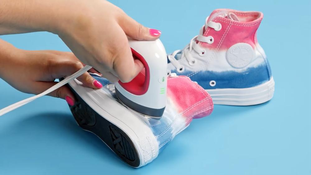 Americana Tie-Dye Shoes with Transfers - heat set transfers onto shoes