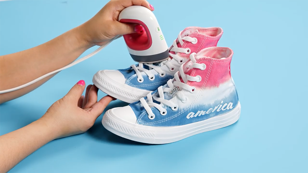 Americana Tie-Dye Shoes with Transfers - heat set crystals