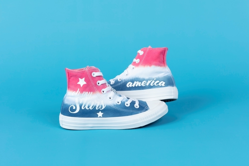 Americana Tie-Dye Shoes with Transfers