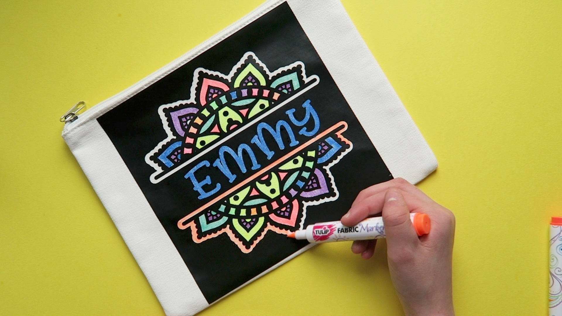 Using Fabric Markers, fill in stencil spaces as desired – have fun!!